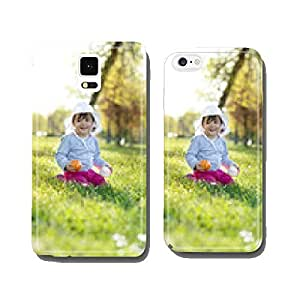 Cute little girl playing in the park on spring day cell phone cover case iPhone6