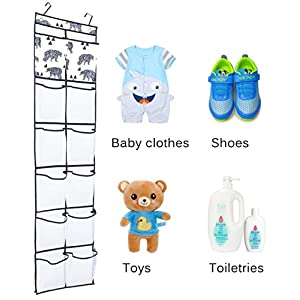 Over the Door Shoe Organizer Children Toy Storage Hanging Shoe Rack with 12 Large Pockets for Narrow Closet Door