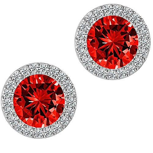 Stud Earrings Ruby Round Earrings for Girls Fashion Jewelry Cubic Zirconia Halo Earrings for Women