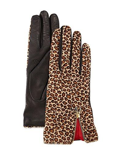 DVF Diane Von Furstenberg Ladies Leopard Print Haircalf Leather Gloves 7.5