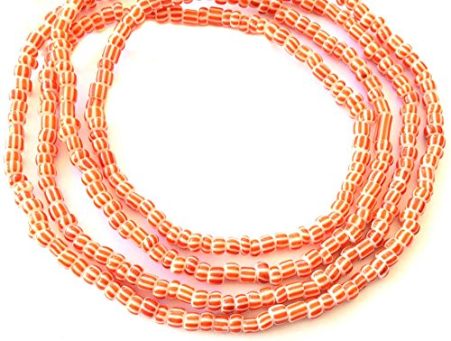 VIntage Ghana Orange & white stripes waist seed Beads Glass African Trade Beads - Strand of Fair Trade Beads from ()