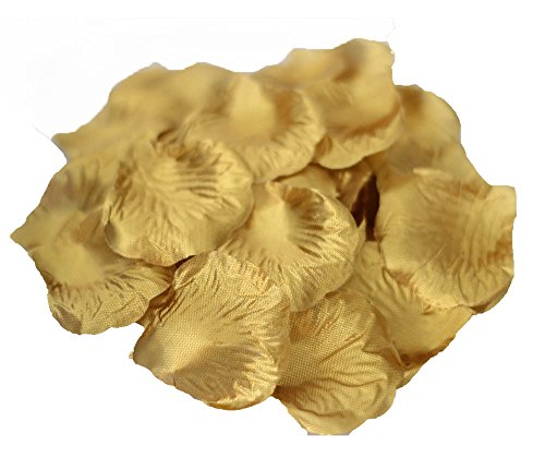 JUYO VONSAN individually separated artificial Rose Petals Wedding Flowers Favors 1000 Pcs (Gold)