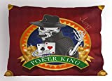 Ambesonne Skull Pillow Sham, Casino Background with Dead Skeleton Poker King Gambler Vegas Smart Game Graphic, Decorative Standard King Size Printed Pillowcase, 36 X 20 inches, Multicolor