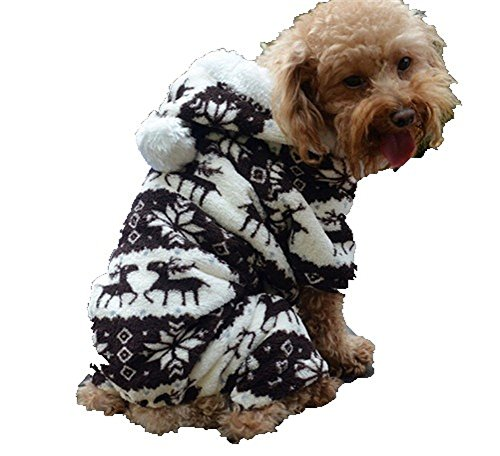 QIYUN.Z Casual Four Legs Black White Velvet Snow Deer Christmas Hoodie Dog...