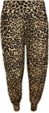 WearAll Women's Plus Size Leopard Animal Print Hareem Ladies Trousers Pants - Brown - US 16-18 (UK 20-22)