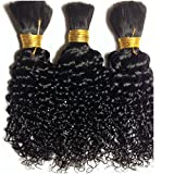 Natural Curly Kinky Human Hair for Tree Braids, Brazilian Knots, Etc. 16'' Color 1b Off Black