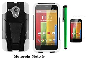 Motorola MOTO G (VERIZON, BOOSTMOBILE) Premium T-stand Protector Hard Case Cover + Screen Protector Film + 1 of New Metal Stylus Touch Screen Pen (WHITE / BLACK)