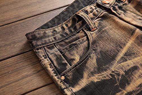 Uomo Da Dritti Per Jeans Cintura Distrutti Denim Di Libero Il Senza Tempo Retro Media Giallo Vita Giovane A Slim Pantaloni Fit Moda F45EBxwq5