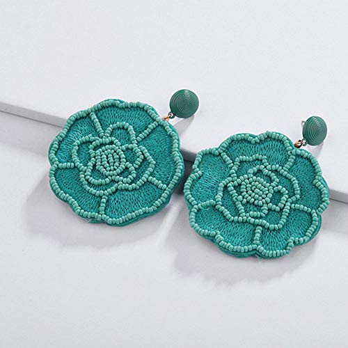 Rose Beaded Earrings Green Beadwoven Earrings Boho Earrings Summer Beach Girls Earrings