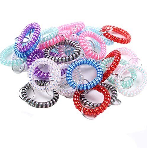Spiral Bracelet - BIHRTC Pack of 30 Mix-Color Flexible Spiral Coil Stretchable Spring Wristband with Key Ring for Office, Workshop, Shopping Mall, Sauna and Outdoor Activities Place