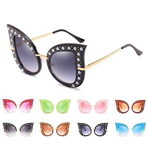 las Gafas sol dise ador manera gran polarizada tama de gato del de Vidrios 2018Brand retro mujeres ojo la del de de Sun del gafas lujo perla de de 2 Horrenz Tipo del diamante o n0SgpWq
