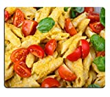 Liili Mouse Pad Natural Rubber Mousepad Home made tomato pasta on plate with fresh basil leaves wooden background Image ID 23430356