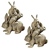 Cheap Design Toscano Bunched Bunnies Cast Iron Statue, Bronze