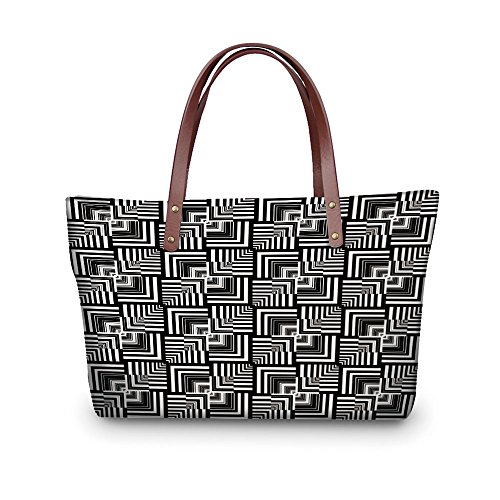 - iPrint Design the fashion for you Waterproof Women Casual Handbag Tote Bags,Black and White,Geometric Op Art Pattern Unusual Checked Optical Illusion Effect Modern Decorative,Black White.