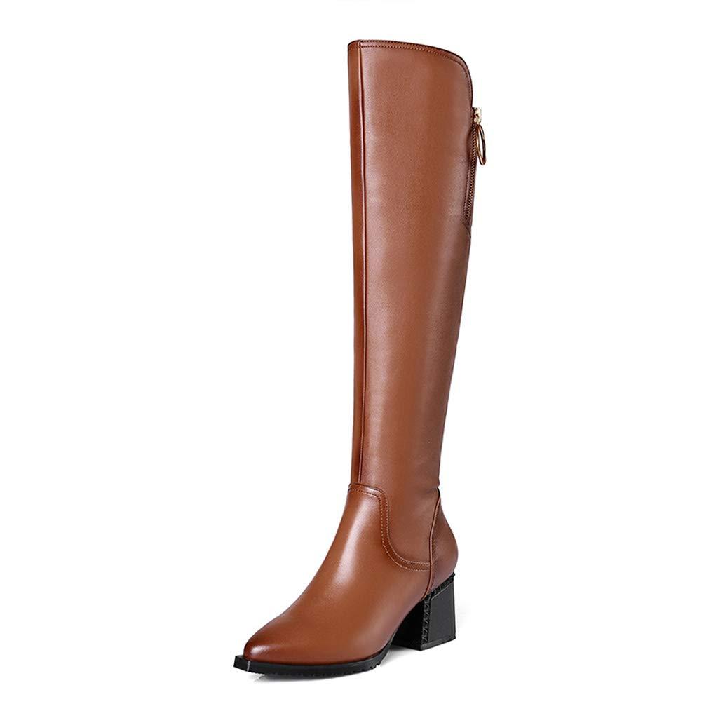 Winter Leder High Heel Stiefel Frauen Plus Samt Reitstiefel Lange Stiefel Mit Dicke Dünne Hohe Stiefel Kuh Leder High Heels (Farbe   braun, größe   36)