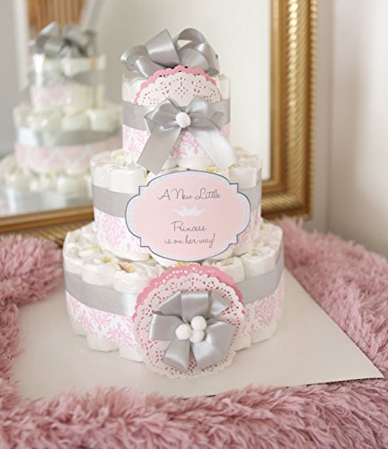 3 Tier Baby Girl Damask Pink & gray Diaper Cake / Baby Shower Centerpiece decoration / Elegant princess / new mom baby shower gift / pink silver