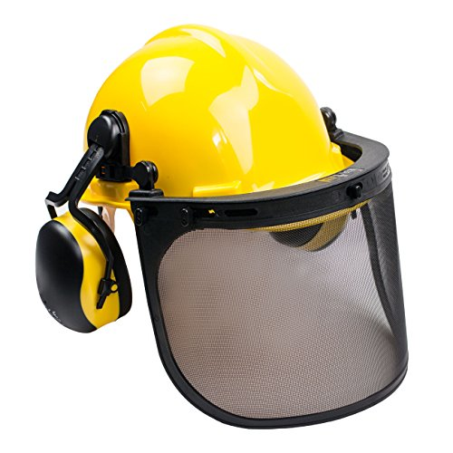 Hard Saws - RK Safety Industrial Forestry Chainsaw Safety Helmet Combo Set | Hard Halmet Hat, Hearing Protection Ear Muffs, Mesh Face Shield Visor, Hold Breacket | ANSI and EN Certified (SHC101, Yellow)