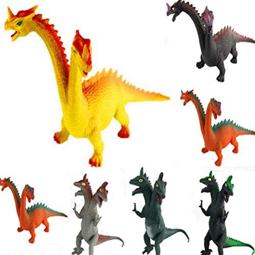 [PerPor 6pcs Double-head Assorted Plastic Dinosaurs Toys Fingures Sets(5.9