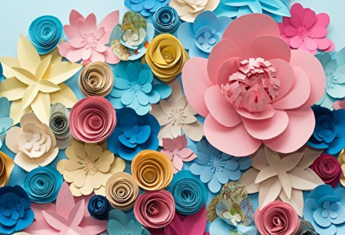 Yeele Vinyl 9x6ft Photography Background Colorful Flowers Paper Background Pattern Lovely Style Champagne Blue Pink Blossoming Flower Backdrops Portraits Shooting Video Studio -