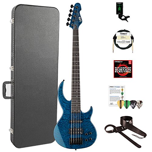 ESP LBB1005QMBLKAQ-KIT-2 Bunny Brunel Signature Series BB-1005 QM 5-String Electric Bass, Black Aqua by ESP