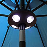 Sunnydaze Outdoor Patio Umbrella Lights, 4-Panel Cordless 24 LED, Battery Operated Pole and Camping Tent Light, Black