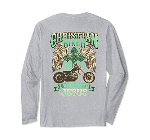 Unisex Christian Biker Ride With Jesus Back Print Long Sleeve Shirt Large Heather (Biker Babes Print T-shirts)