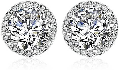 AMYJANE White Gold Tone Round Cut Halo Crystal Cubic Zirconia Stud Earrings