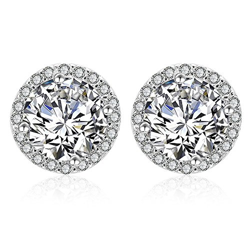 Silver Cubic Zirconia Stud Earrings - 925 Sterling Silver Swarovski Crystal Round Diamond Rhinestone CZ Halo Studs Earrings for Women Men by ()
