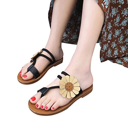 TOOPOOT Women's Summer Sandals,Spring Flower Wedges Platform Casual Roman Anti Skidding Beach Shoes Sandals Slipper (US:8, Black) (Sandal Platform Style)