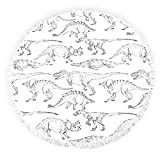 Round Beach Towels with Tassels Dinosaurs Abstract Ancient Animals Fringed Circle Thick Gypsy Picnic Carpet Yoga Mat