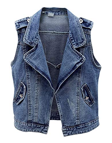 Leggero Confortevole Monocromo Bello Blu Outerwear Tasche Cute Elegante Mieuid Smanicato Abbottonatura Giacca Gilet Denim Casual Primaverile Fashion Donna Cappotto Chic Jeans Autunno Con ZZwqzvOxC