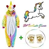 Rainbow Unicorn Onesie for kids Animals Sleepwear Pajamas Pjs Costume with Gloves 7