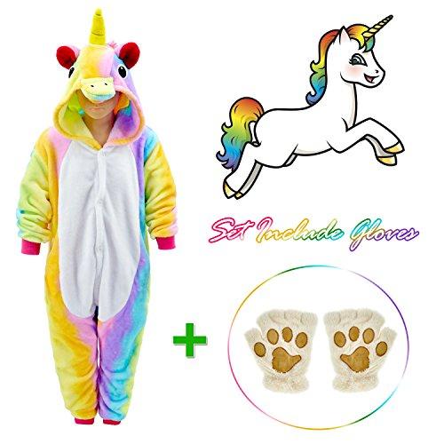 Rainbow Unicorn Onesie for kids Animals Sleepwear Pajamas Pjs Costume with Gloves 4 -