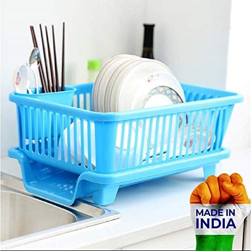 SHOPPINO 3 in 1 Large Durable Sink Plastic Dish Rack Utensil Drainer Drying Basket for Kitchen with draining Tray After wash Tool Cutlery Fork Organizer (Multi-Color) Price & Reviews