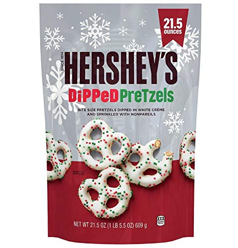 21.5 oz Hershey's White Creme Chocolate Dipped Pretzels with Festive Holiday Non Pareils Sprinkles