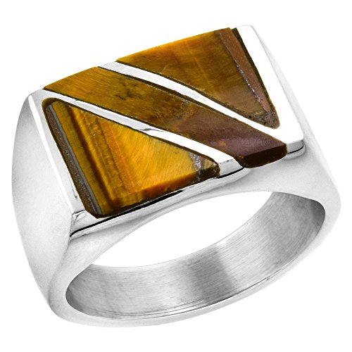 Diagonal Stripes Ring (Sterling Silver Tiger Eye Ring for Men Rectangular Diagonal Stripe Solid Back Handmade, size 13)