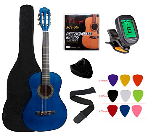 "YMC Classical Guitar 1/2 Size 34"" Inch Nylon Strings Classical Acoustic Guitar Starter Pack With Carrying Case & Accessories for Beginner Students Children-Blue Case Maple Fingerboard"