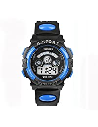 changeshopping Waterproof Boy Digital LED Quartz Alarm Date Sports Wrist Watch (blue)