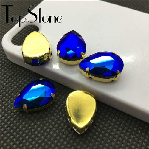 Calvas Teardrop Glass Sewing Stone All Sizes Colors AB 10x14mm~30x40mm Droplet Pointback Crystal Fancy Stone with Gold Claw Setting - (Color: Black ab, Item Diameter: 13x18mm 28pcs)]()