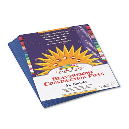 SunWorks Products - SunWorks - Construction Paper, 58 lbs., 9 x 12, Blue, 50 Sheets/Pack - Sold As 1 Pack - Brightly-colored, high-strength, heavyweight construction paper with long, strong fibers that cut clean and fold evenly without cracking. - All pur