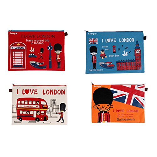 (Greenery Fashion Cartoon Love London Pattern Zipper Closure A4 Paper Document Files Storage Bags Paper Folders Set of 4)