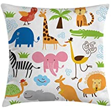 Animal Throw Pillow Cushion Cover by Ambesonne, Cute Set of Giraffe Elephant Zebra Turtle Kids Nursery Baby Themed Cartoon Comic Print, Decorative Square Accent Pillow Case, 20 X 20 Inches, Multi