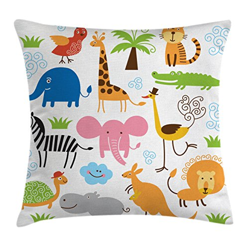 Ambesonne Animal Throw Pillow Cushion Cover, Cute Giraffe Elephant Zebra Turtle Kids Nursery Baby Themed Cartoon Comic Print, Decorative Square Accent Pillow Case, 18 X 18 inches, Multicolor ()