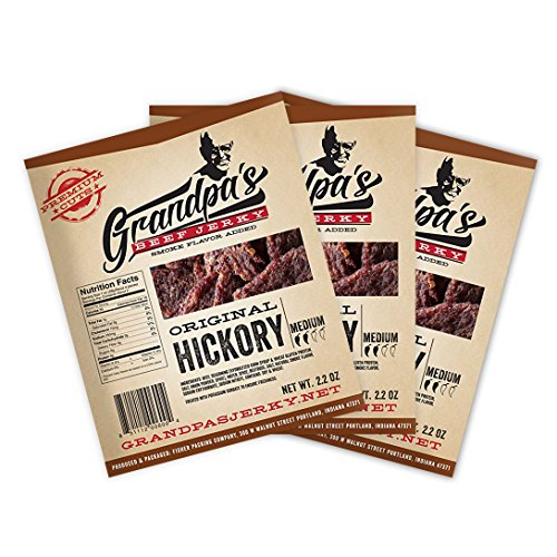Low Carb Beef Jerky Snack: Hickory Smoked Dried Meat Sticks Made from Smoked and Dehydrated Top Round Steak - Healthy, High Protein Food for Snacks or Lunch - Bulk Order of Three 2.2 oz Packs (Organic Salted Sticks)