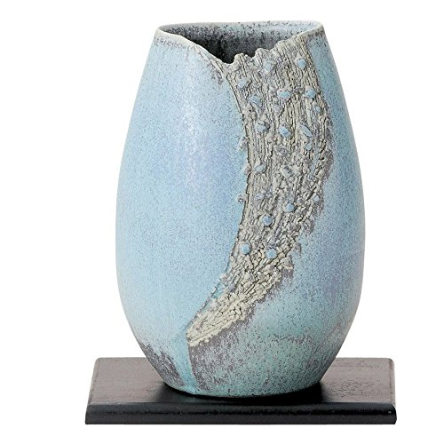 Shigaraki Pottery Japan Flower Vase Kado Ikebana, Turquoise Blue with Flower vase Stand