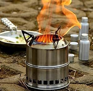 Ohuhu Potable Stainless Steel Wood Burning Camping Stove