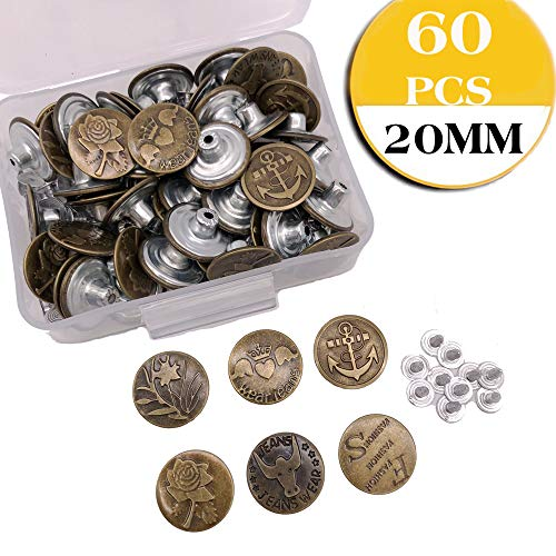 20MM 60 Sets Replacement Jean Buttons Tack Buttons Metal Replacement Kit with Rivets Storage Box, 6 Styles