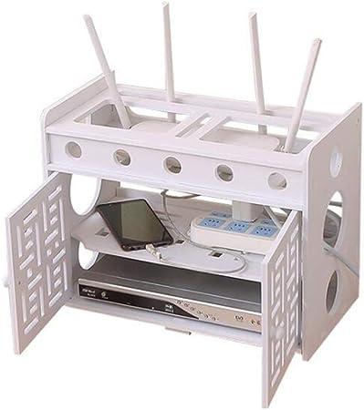 JCNFA Estante Router De Wifi, Enchufe De Cable Caja De Alambre Caja De Almacenamiento Decodificador De Televisión Estante De Pared, 3 Capas, Puerta Doble (Color : White , Size : 16.53*8.66*12.59in) : Amazon.es: Hogar
