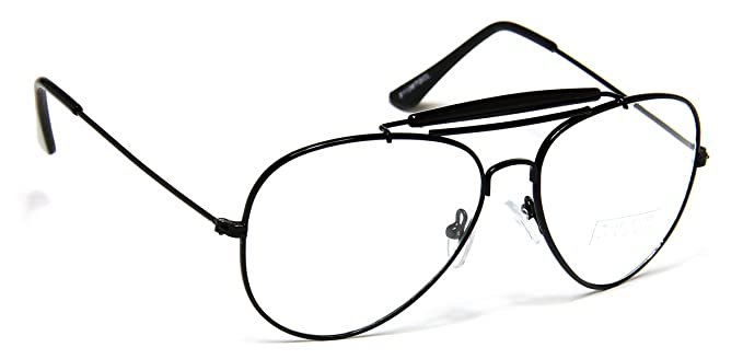 retro aviator clear lens glasses super vintage classic fashion nickel black metal frame bar eyeglasses