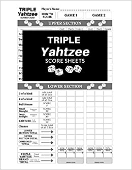 photo regarding Printable Yahtzee Score Sheets 2 Per Page named Triple Yahtzee Ranking Sheets: 100 Internet pages Triple Yahtzee Rating